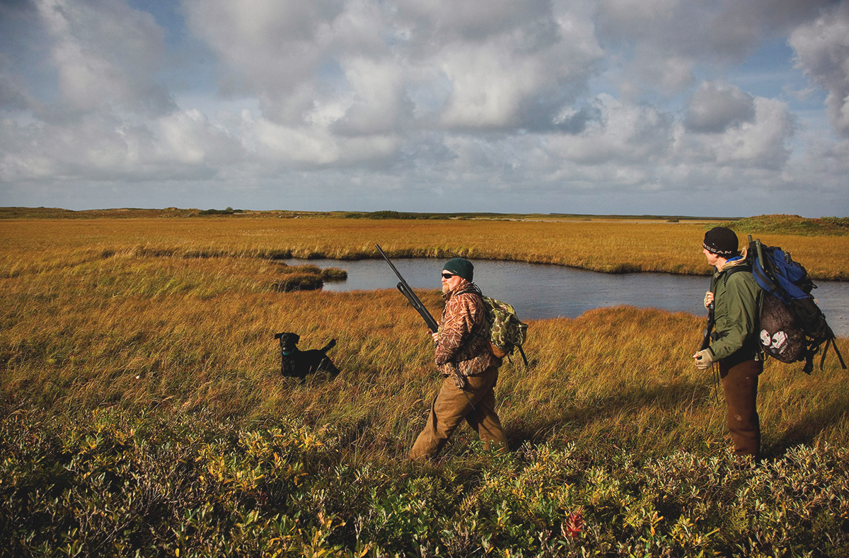 Two waterfowl hunters walk through a marshy field as their dog follows.