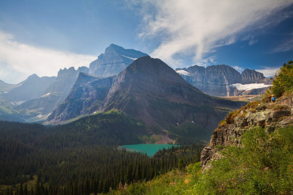 A sweeping view of the mountains and lake found along the Grinnell Glacier Trail.