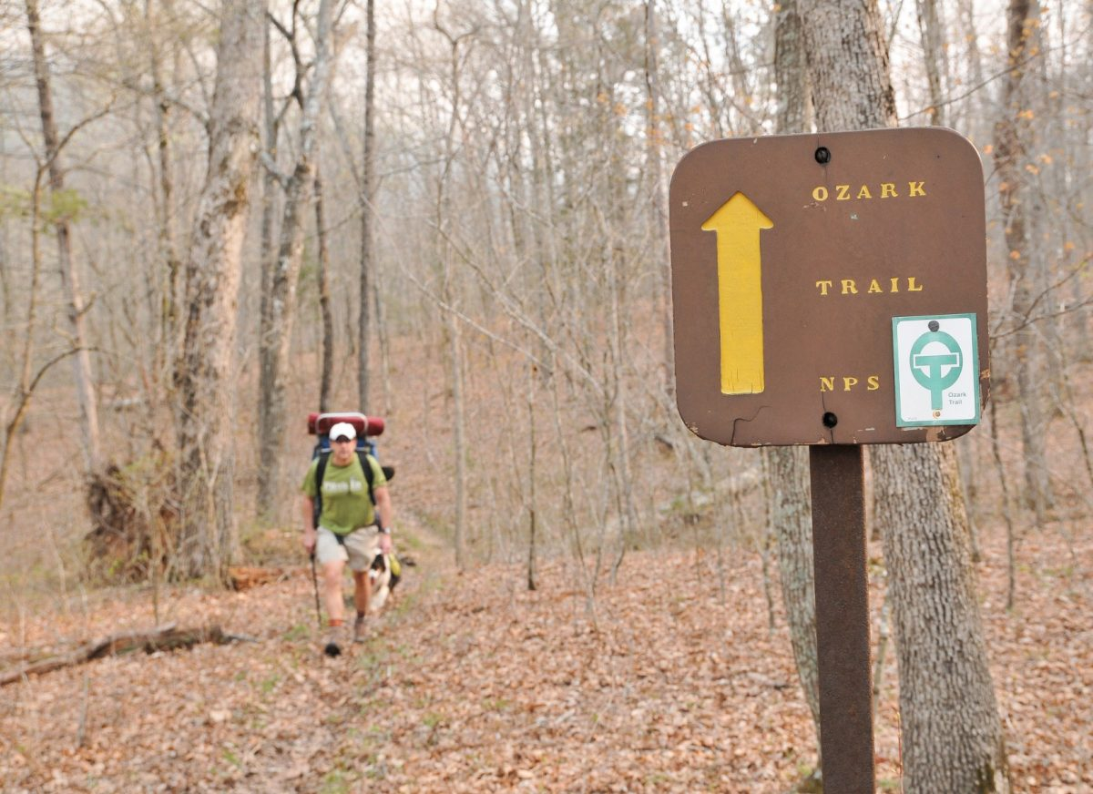 Man hiking on trail marked with Ozrk trail signage.