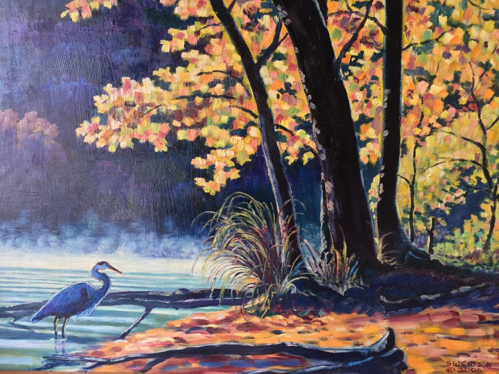A painting of a heron in a lake in the fall