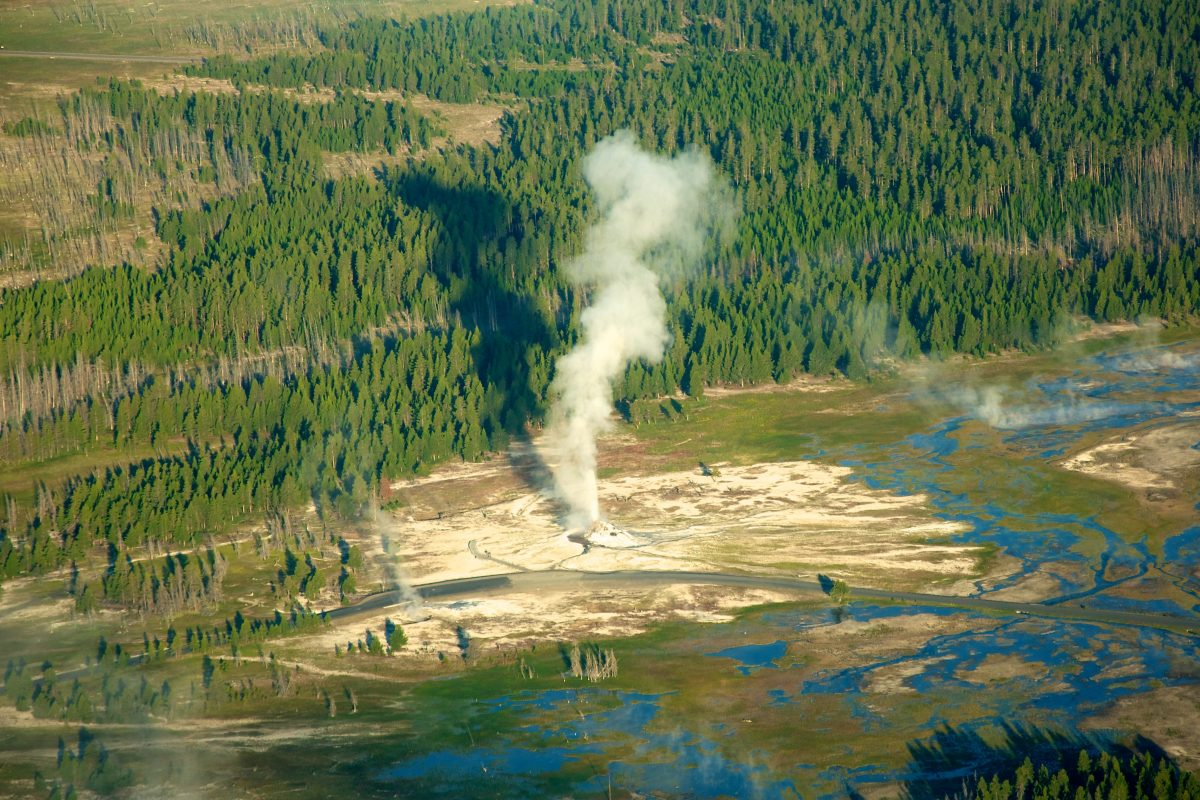 Overhead of geyser erupting at Yellowstone National Park