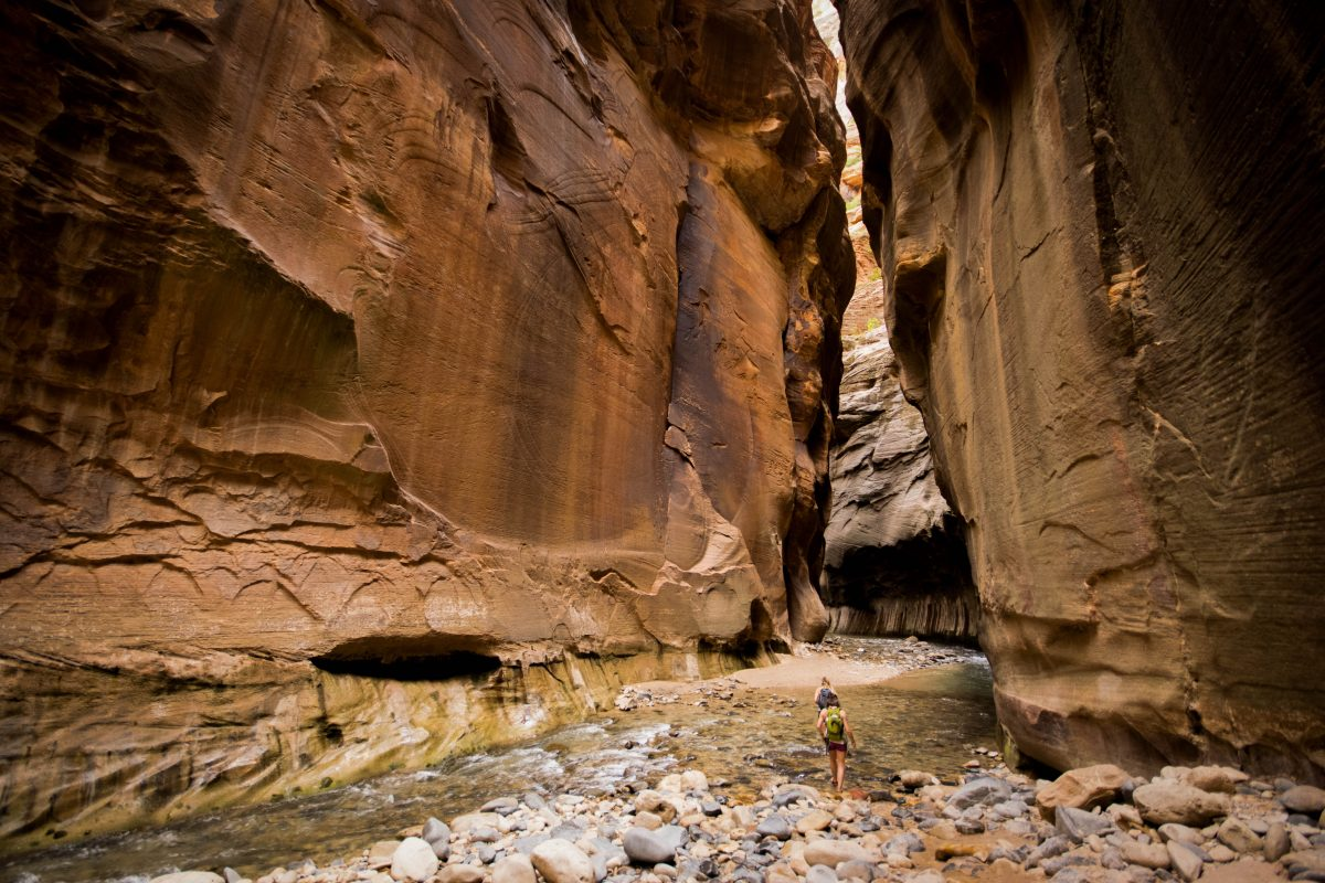 The Narrows trail at Zion National Park