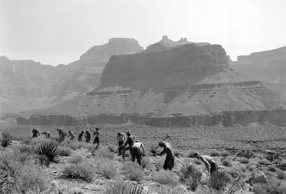 Men build Clear Creek Trail in Grand Canyon National Park